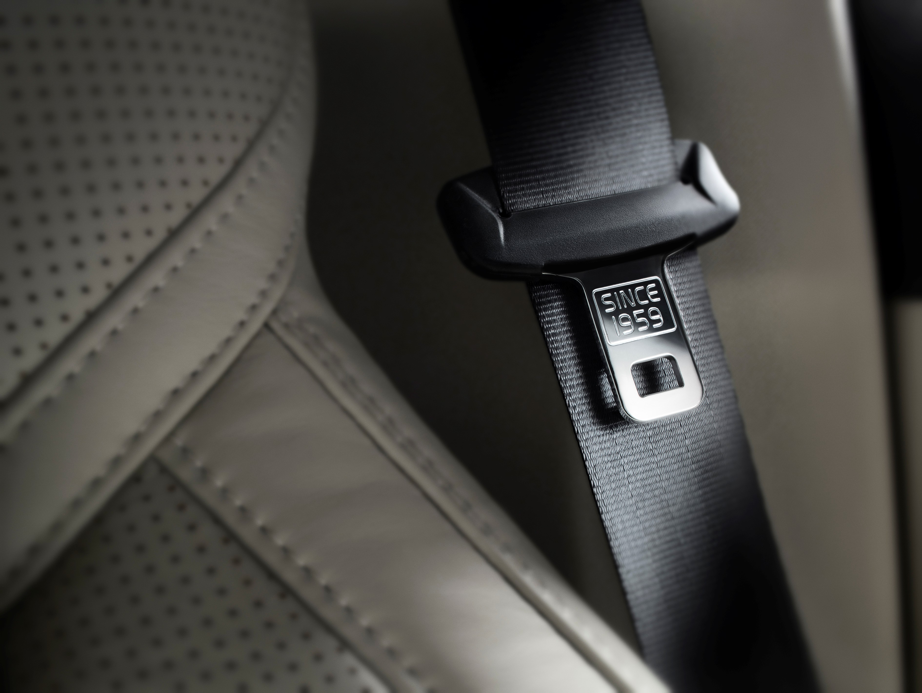 Safety belt detail, celebrating the fact that Volvo Cars introduced the three-point seat belt as standard equipment in 1959.